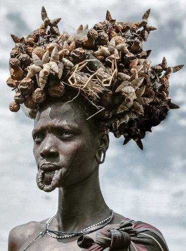 A Mursi Woman with Ceremonial Headdress