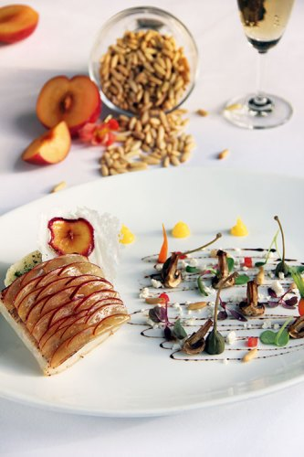 Chef Ravish Mishra, Chef Ashish Naranje, Pan-seared Sea Bass with Caper berries and a Mushroom Pine Nut Salad with Olive Dust and Plum Reduction