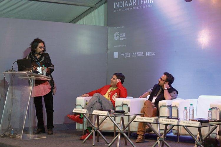 Parmesh Shahani with graphic novelists Sarnath Banerjee and Vishwajyoti Ghosh at the India Art Fair Speakers' Forum
