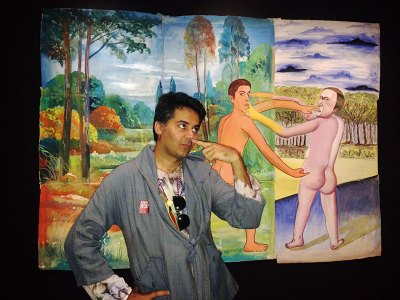 Parmesh Shahani in a playful mood at the Clemente exhibit in New York