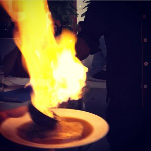 Crepe Suzette flambe at Villa Shanti