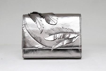 Rashmi Modi Feather Siver clutch