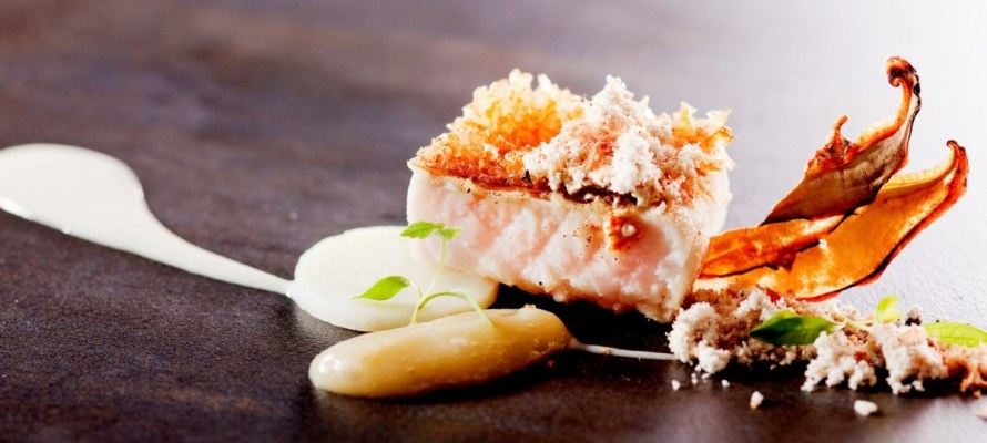 Red fish, sous vided potato, artichoke puree, dehydrated shiitake mushroom, Chinese mandarin dust, yunnan ham cream sauce