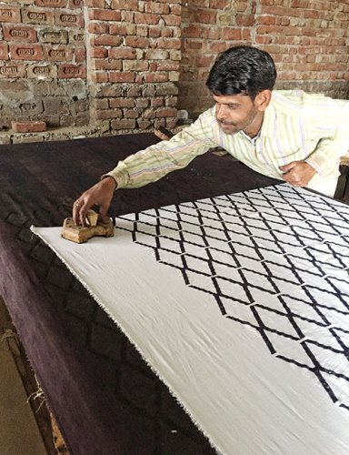 Miltimore spent time with block printers in Jaipur learning about the method and its limitations