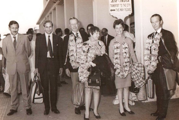 Jack Dawson, chairman of Associated Dry Goods, and Mr Perlee, president of Lord & Taylor, with their wives
