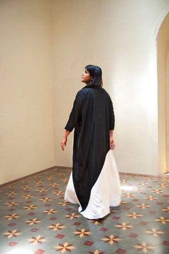 Dress, from Abraham & Thakore; earrings, Sahar's own.