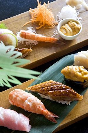 Sashimi tuna, shrimp, seawater eel, sea urchin sushi and ginger