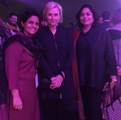 Verve's Falguni Kapadia and Arti Sarin with Tina Brown