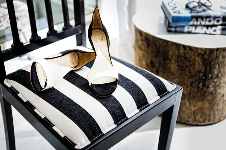 White-and-black heels, from Francesco Russo