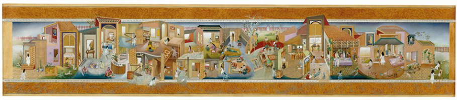 The Scroll, 1989-90, watercolour, gouache, tea wash, gold leaf on wasli paper 14 x 67 inches