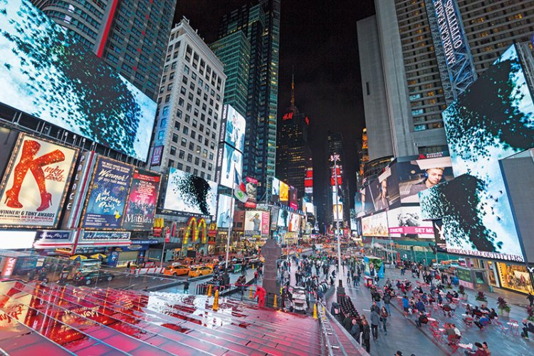 Gopi-Contagion, 2015, HD video animation on digital LED billboards, 3 feet. Installation view, Times Square, New York