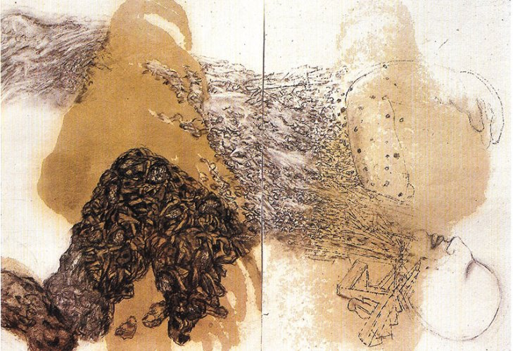 Vivan Sundaram, Soldier of Babylon, 1991, engine oil and charcoal on paper, 30in x 44in (diptych)