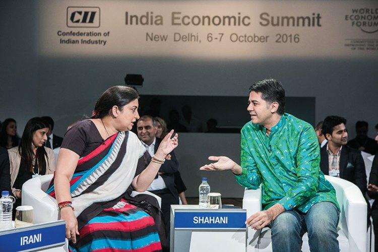 Union Textile Minister Smriti Irani with Parmesh Shahani at the World Economic Forum on India
