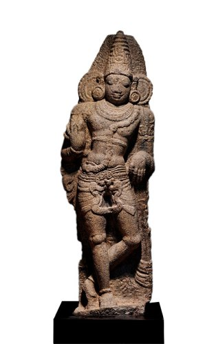 A monumental granite figure of a Dvarapala was the top lot in the Classical Indian Art section at the auction