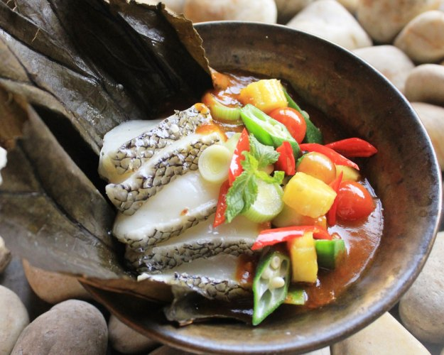 Steamed local sea bass with Assam sauce