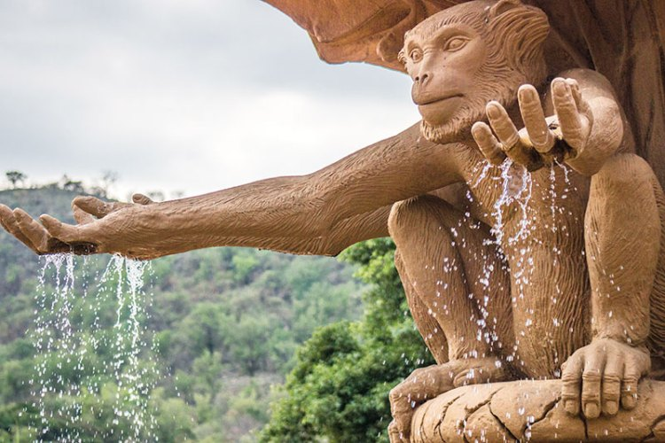 Detail of the monkey sculpture at the Bridge of Time