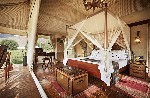 Luxury suite tent interiors at Chamba Camp, Thiksey