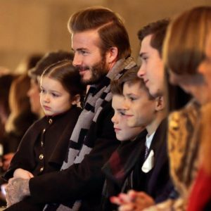 The Beckham family at Victoria Beckham