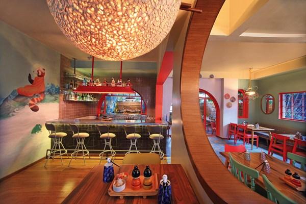 The restaurant's vibrant interiors