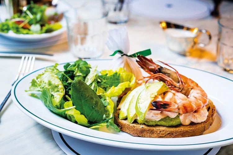 Prawn and Avocado open sandwich at The Ivy Café Marylebone