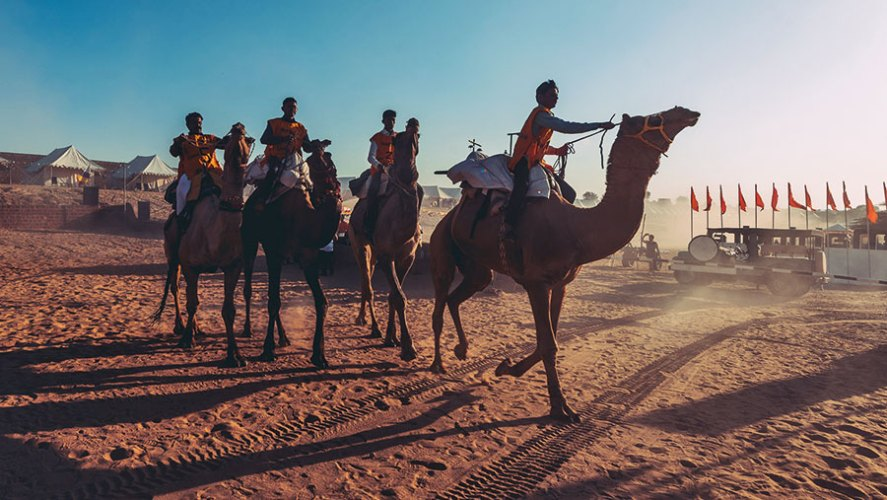The camel race at Mahindra Open Sky