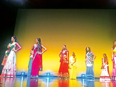 The sari round of the Miss India Connecticut pageant