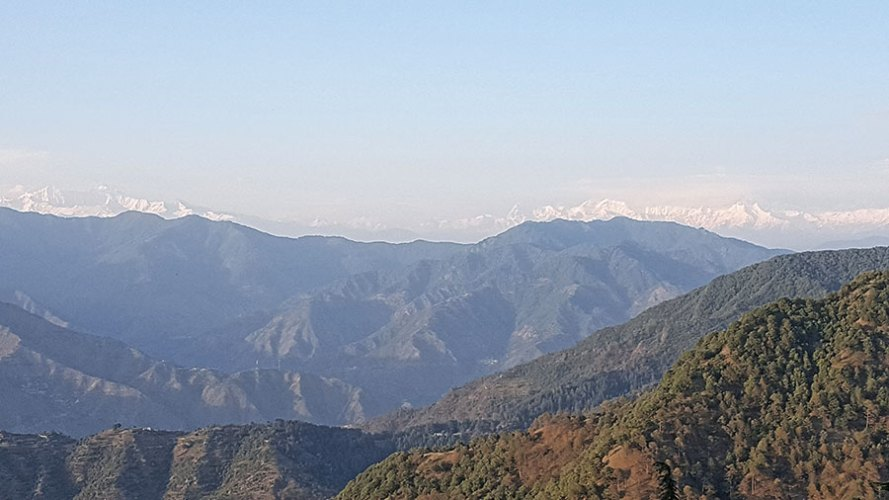 The white peaks of the Himalayas as seen from the Pine Tree room