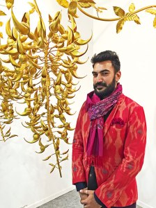 Valay Gada and his India Art Fair sculpture