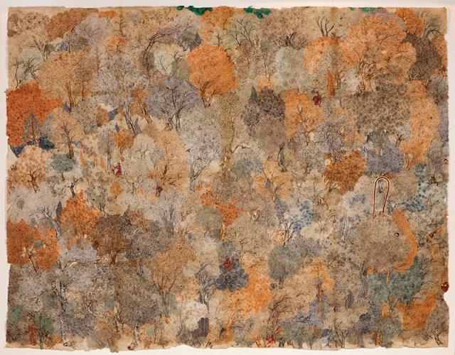 Aasman Se Gira Khajoor Mein Atka, 2012; watercolour on rice paper; 213x274.3 cm
