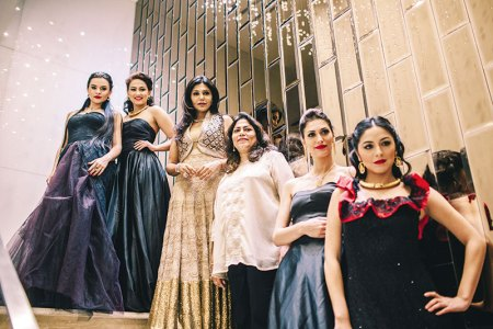 Nisha Jamvwal, Verve's Arti Sarin with models showcasing the collection