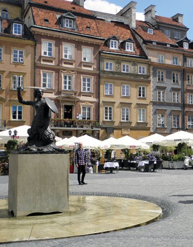 The striking mermaid statue in the middle of the market square in the old town