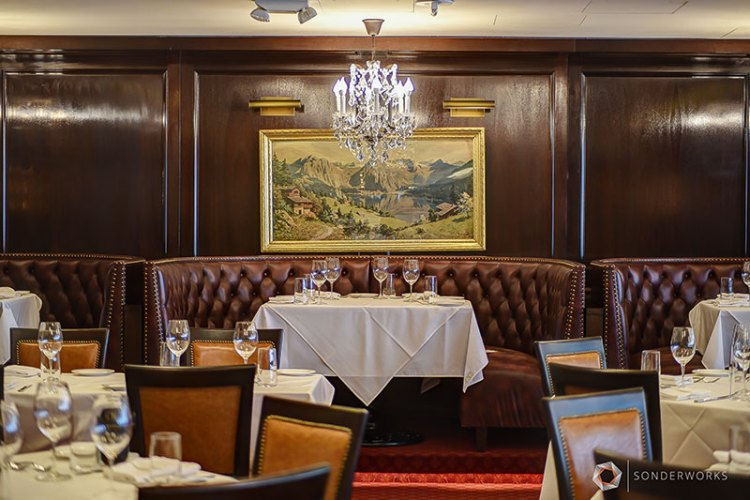 Traditional interior dining room at Rare Steakhouse
