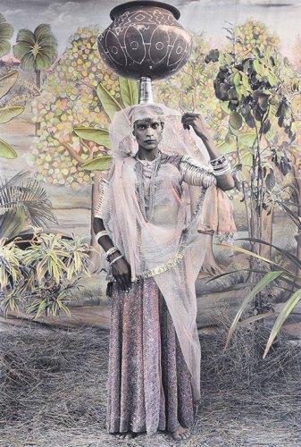 Gauri Dancers 3, 2013, hand-coloured black and white pigment print