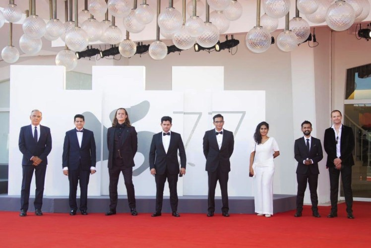 L to R : Alberto Barbera, Chaitanya Tamhane,Michał Sobociński, Aditya Modak, Vivek Gomber, Pooja Talreja, Tanaji Dasgupta, Jan Naszewski