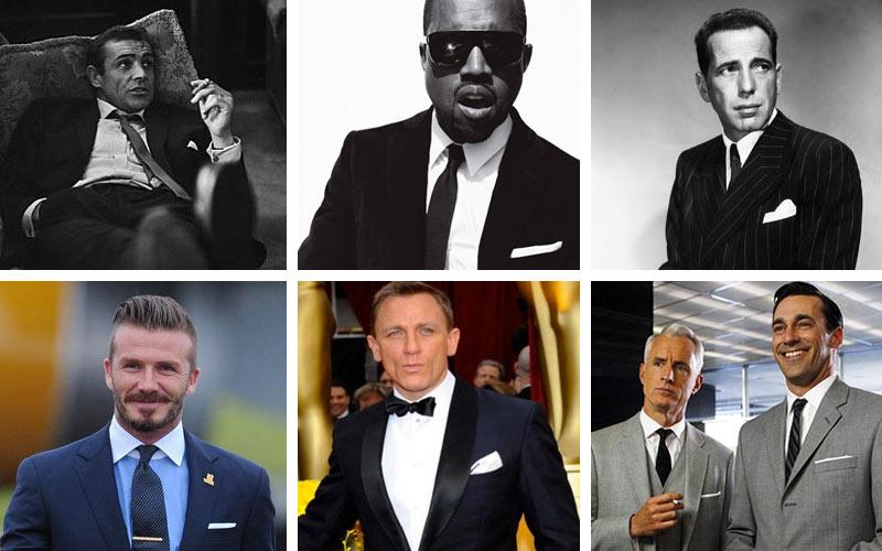 Clockwise: Sean Connery, Kanye West, Humphrey Bogart, Don Draper, Daniel Craig, David Beckham