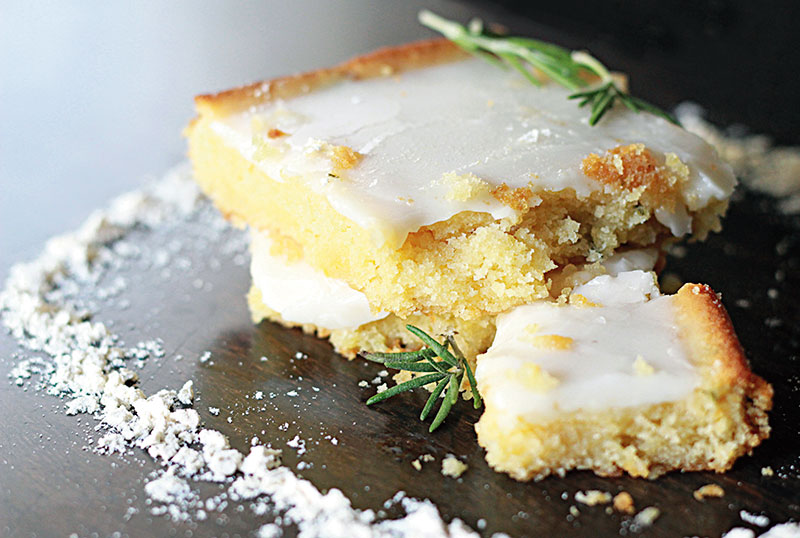 Whole-wheat lemon blondies with rosemary
