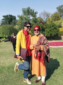 With textile guru Kaka at Anupam and Lekha Poddar's art lunch