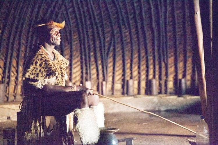 The Zulu males usually wear animal skins