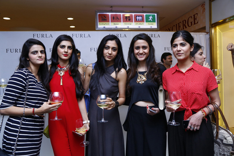 Furla store opening boutique new delhi fashion Diksha Saigal, Sharnamli Mehra Adhar, Pallavi Whig, Mitali Waddhwa, Sanjana Chopra