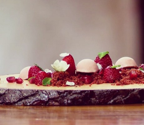 Strawberry frozen yoghurt, strawberry-pomegranate-rhubarb purée, fresh strawberries and red soil