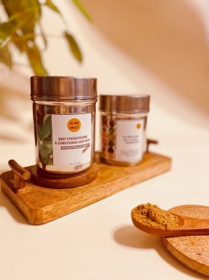 (Left to right): Root strengthening and conditioning hair mask; Face brightening daily cleanser