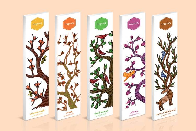 Packaging for Myraa using Gond art