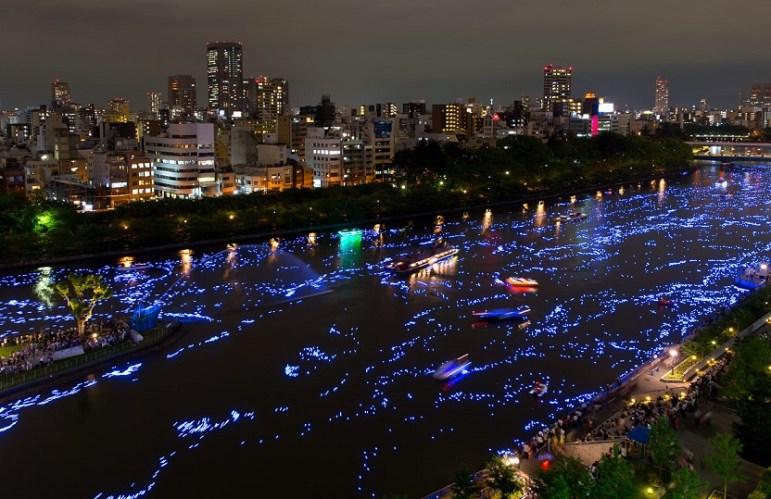 Ogawa River during the annual Tanabata Festival, Osaka
