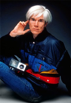 Andy Warhol wearing Castelbajac for an advertising campaign in 1982