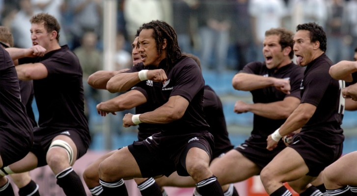 The All Blacks performing a haka