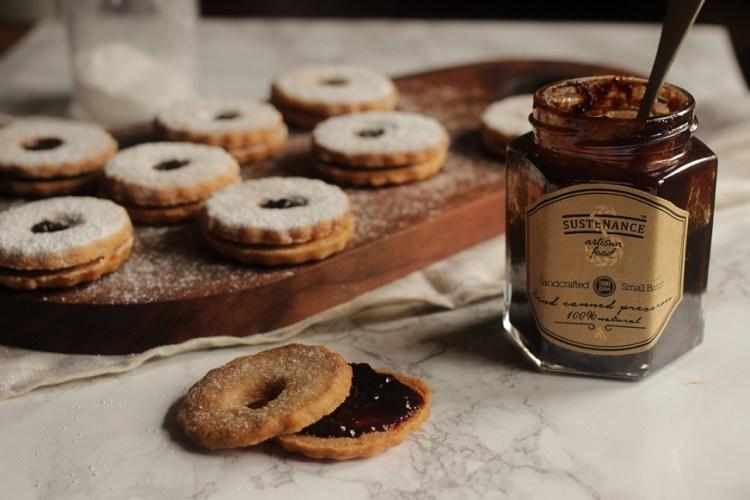 Spiced plum jam & linzer cookies