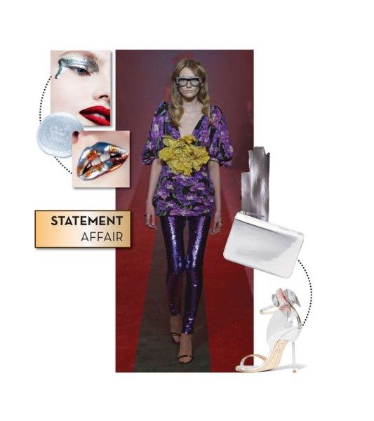 Runway look: Gucci; Clutch by Maison Margiela; Stilettos by Sophia Webster