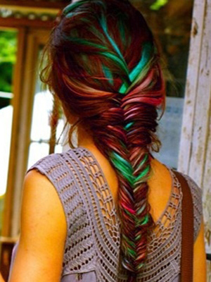 Hair Chalk: Try a colourful version of the French braid