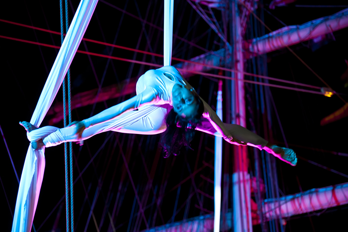 Aerial and Malkhamb in India; image from Polish acrobat group Ocelot