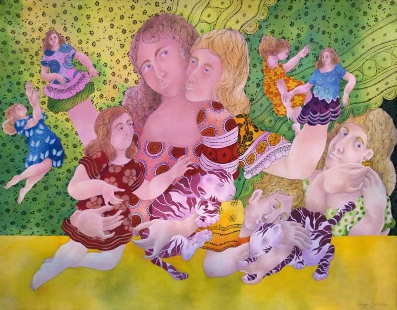 "MAYA BURMAN, 'TENDER CARESS – I', WATERCOLOUR, PEN & INK ON PAPER, 19"" X 25"", 2014."